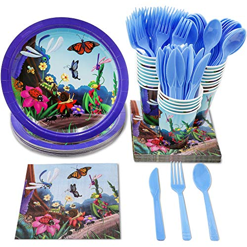 Disposable Dinnerware Set - Serves 24 - Bugs Party Supplies, Includes Plastic Knives, Spoons, Forks, Paper Plates, Napkins, Cups