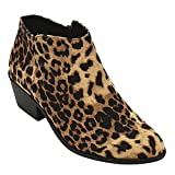 SODA Women's Round Toe Faux Suede Stacked Heel Western Ankle Bootie Navy (7.5 M US, Cheetah Faux Suede