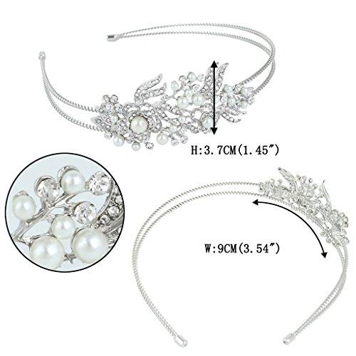 EVER FAITH Silver-Tone Austrain Crystal Cream Simulated Pearl Flower Hair Band Clear