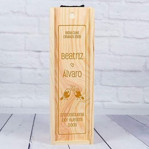Compra Regalo de Boda Personalizado: Caja de Madera para Botellas ...