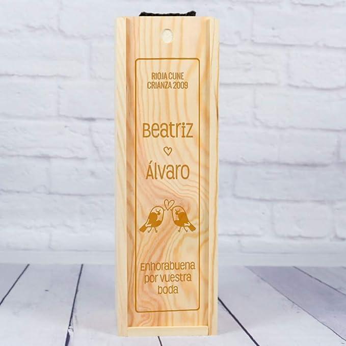 Regalo de Boda Personalizado: Caja de Madera para Botellas de Vino ...