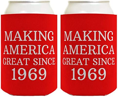 Birthday Gifts For 50th Making America Great Since 1969 Gag Party 2 Pack Can Coolie Drink Coolers Coolies Red