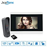 Video Doorbell Phone, Jeatone Video Intercom Monitor with 32G TF Card 7'' Door Phone Home Security Color TFT LCD HD Wired for House Office Apartment