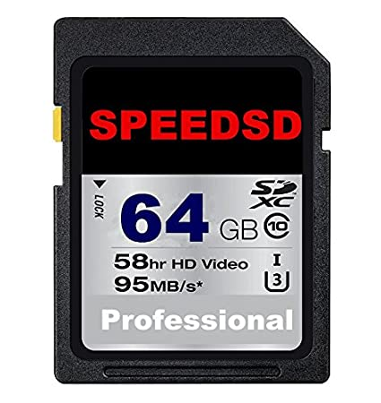 SPEEDSD - Tarjeta de Memoria SDHC de 64 GB (hasta 95 MB/s, Tarjeta SD, Clase 10, U3)
