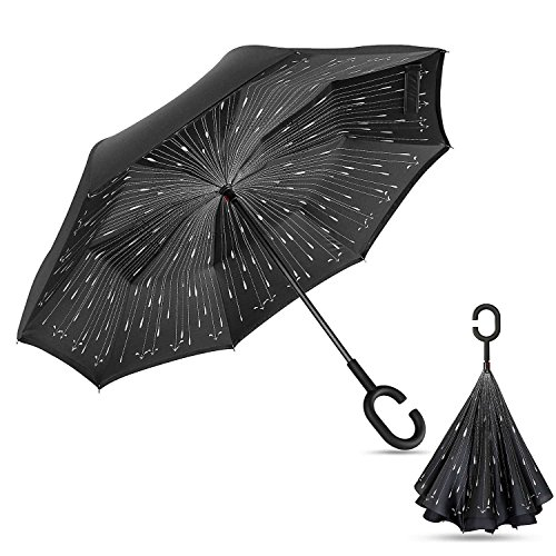 Double Layer Wind Proof,UV Proof, durable , self standing Proof Reverse Folding Inverted Umbrella Travel Umbrella with Hands free C Shape Handle - Man Meteor Online