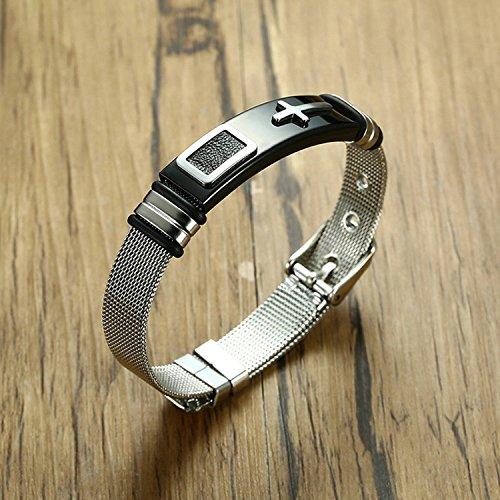 LexBu Men Bracelets Stainless Steel Cross Black 17CM by LexBu (Image #3)