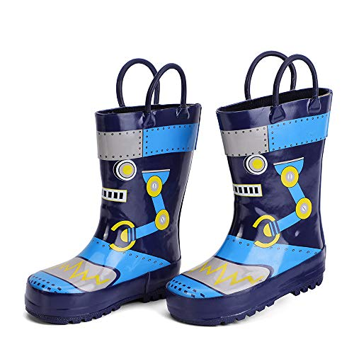 hiitave Kids Toddler Waterproof Rubber Rain Boot for Boys Girls with Easy Pull On Handles Navy/Robot 12 M US Little Kid