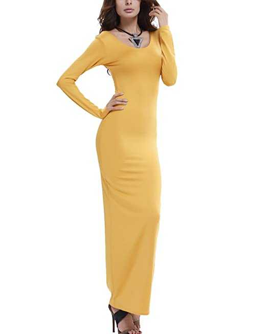 Ajustados Vestidos Largos Para Mujer Elegantes Manga Larga De Noche Fiesta Amarillo L