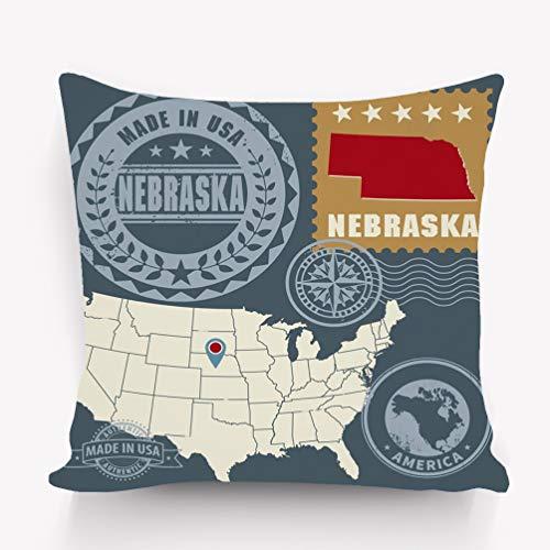 - zexuandiy Decorative Cotton Velvet Vintage Home Throw Pillow Case Cushion Cover 18X18 Post Stamps Set Name map Nebraska USA