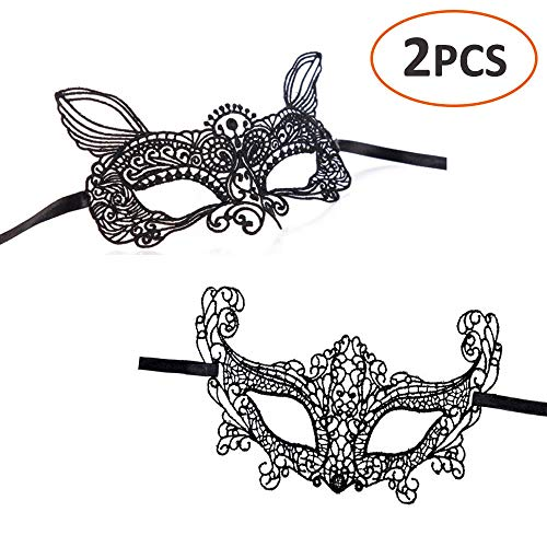 iMapo 2 Pack Lace Masquerade Mardi Gras Ball Face Mask for Women Men Couples for Opera Halloween Dancing Evening Party (Black 1)