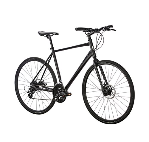 Populo Bikes Fusion 2.0 Hybrid 24-Speed Bicycle with Disc Brakes, Black, 53cm/Medium