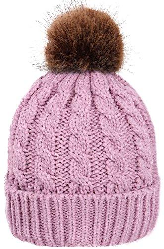 Simplicity Womens Winter Warm Knitted Beanie Faux Fur Pom Pom Beanie Hat Lilac
