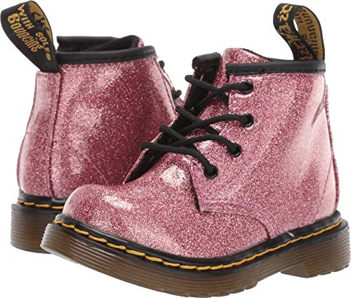 (Dr. Martens Kid's Collection Baby Girl's 1460 Glitter Stars Brooklee Boot (Toddler) Pink Glitter Stars Pu 4 M UK)