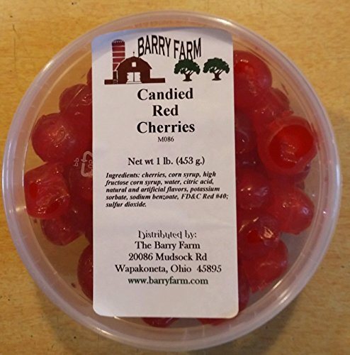 Candied Red Cherries, Whole, 1 lb. by Barry Farm