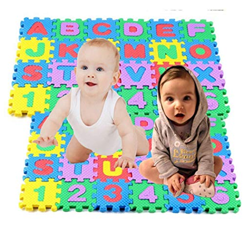 36PC Mini Kids Alphabet Number Toy Colorful Crawling Foam Mat Baby Educational Toys (Color 1: 66cm)