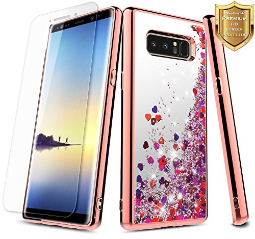 Galaxy Note 8 Case with Screen Protector (Full Coverage) for Girls Women Kids, NageBee Glitter Liquid Sparkle Bling Floating Waterfall Cute Case for Samsung Galaxy Note 8 - Electroplate Rose Gold ()