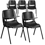 Flash Furniture 5 Pk. Black Ergonomic Shell Chair with Right Handed Flip-Up Tablet Arm