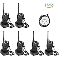 XFox X-888S Long Range 2 Way Radio UHF 400-470MHz 16CH CTCSS/DCS Walkie Talkies with Original Earpiece(Pack of 6) with Programming cable(1Pc)