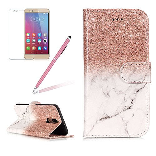 Case for Huawei Mate 10 Lite,Girlyard Colorful Painting Premium PU Leather+TPU inner Book Style Magnetic Closure Flip Stand Feature with Screen Protector for Huawei Mate 10 Lite-Marble Rose gold (Fashion Strap Mate Forms)