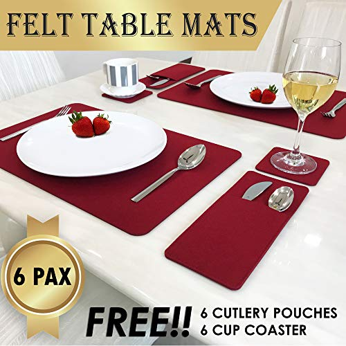 Set Of 6 Placemats For Dining Table - Includes 6 Table Placemats, Drink Coasters And Cutlery Pouch Holder - Protective Dining Table Mats And Dining Table Placemats - House Warming Gifts New Home (Christmas Tables Dining)