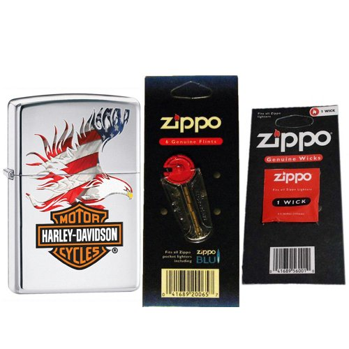Zippo 28082 Harley Davidson Eagle Wings High Polish Chrome Windproof Lighter with One Flint Card and One Wick Card