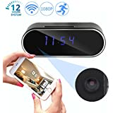 Gemtune HD 1080P Wi-Fi Hidden Camera, Alarm Clock Night Vision, Motion Detection, Loop Recording Home Security Spy Cameras, Real-time Video, Nanny Cam, Support iOS/Android Phone PC Remote View