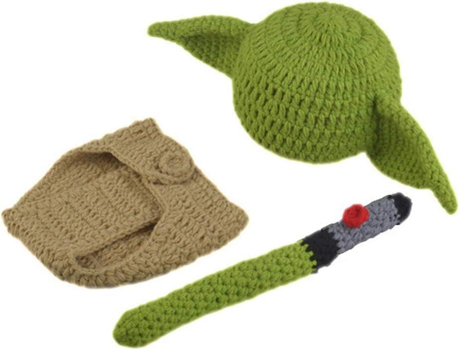 KLOP256 - Juego de disfraz para bebé, gorro de Yoda, regalo de cumpleaños para recién nacidos, funda para pañales, diseño de dibujos animados hechos a mano