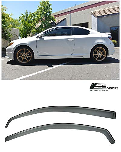 Extreme Online Store for 2005-2010 Scion tC Gen 1 | EOS Visors in-Channel Style JDM Smoke Tinted Side Vents Window Deflectors Rain Guard ()