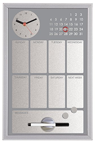Bi-Silque CG016652Easy Black Painted Steel with Clock-Hand and Weekly Planner, MDF Frame 30x 45cm Grey by Bi-silque