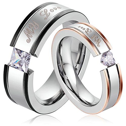 AnaZoz Stainless Steel Ring 5MM My Love Women Engagement Rings Heart Shaped US Size 7
