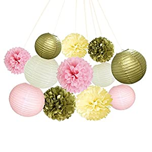 ARDUX 12 Pcs/lot Chinese Paper Lanterns + Paper Flowers Decor for Fiesta Anniversary Birthday Wedding Ceiling Party Supplies Favors Hanging Decoration (Light Pink + Gold + Creamy-white)