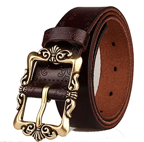 Coffee Retro Leather Pin Buckle Belt Flower Print Designer Belt for Women