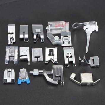 TinkSky 15 piezas pies prensatelas para máquinas de coser la mayoría de uso doméstico: Amazon.es: Electrónica