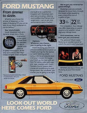 From simmer to sizzle Ford Mustang GT ad 1982 L at Amazon's