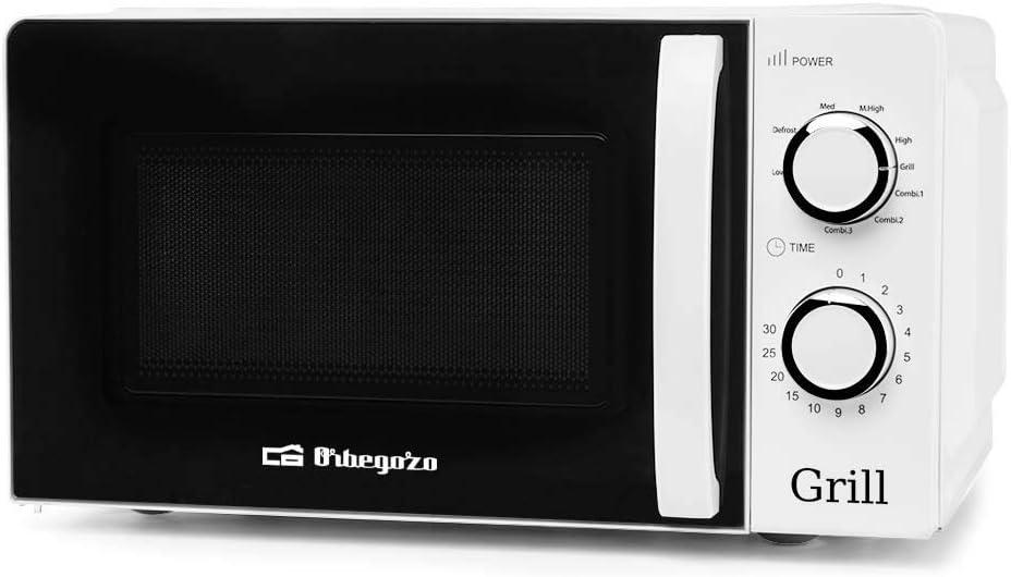 Orbegozo Mig 2130 - Microondas con Grill con 20 Litros de Capacidad, 5 Niveles de Funcionamiento y 3 Funciones Combinadas, Temporizador hasta 30 Minutos, 700-900 W, Blanco
