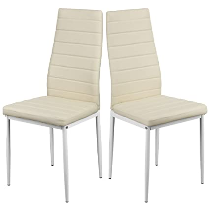 Antoines Dining Chair High Back Modern Faux Leather Kitchen Dining Room  Table Chairs Metal Legs Cream