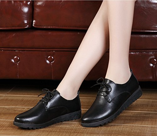 Up Oxford Leather Shoe Heel Flat Dress Women's Black Low Bumud Lace zRcWIO6I