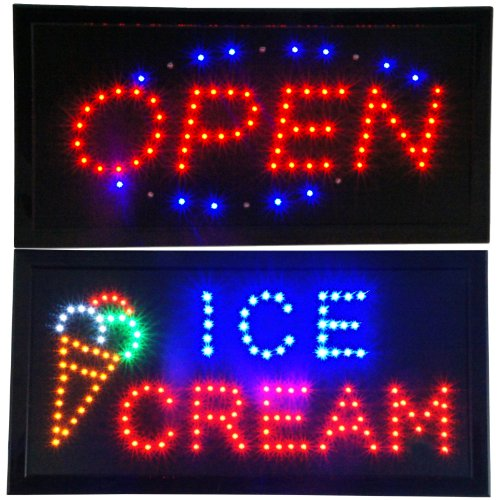 OPEN & Ice Cream Animated LED Signs Store Neon Business Shop Cafe Light On/Off Switch