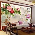 XLi-You 3D drawing Chinese tv background wall paper large Peony Paintings