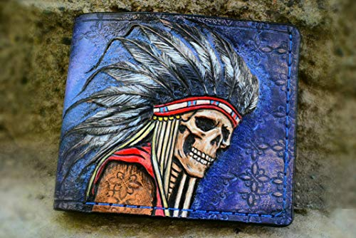 Men's 3D Genuine Leather Wallet, Hand-Carved, Hand-Painted, Leather Carving, Custom wallet, Personalized wallet, Indian Skull, Skull wallet, Skeleton, Red Man, Native American skull -