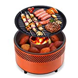 MEI XU Barbecue Grill BBQ Grill - Grilled Charcoal Grill Grill Home Portable Outdoor Barbecue Windproof smokeless Carbon Charcoal Grill red Barbecue Round Grill