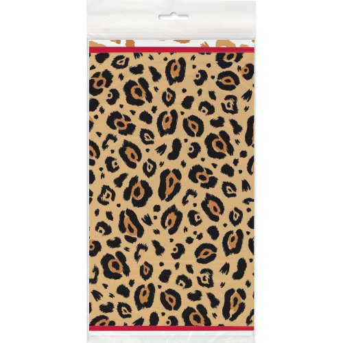 Cheetah Print Plastic Tablecloth, 84
