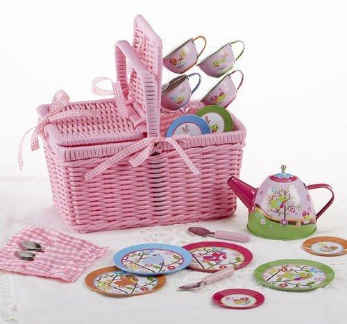 Delton Products Bird Tin Tea Set with Basket (18 Piece), 4''