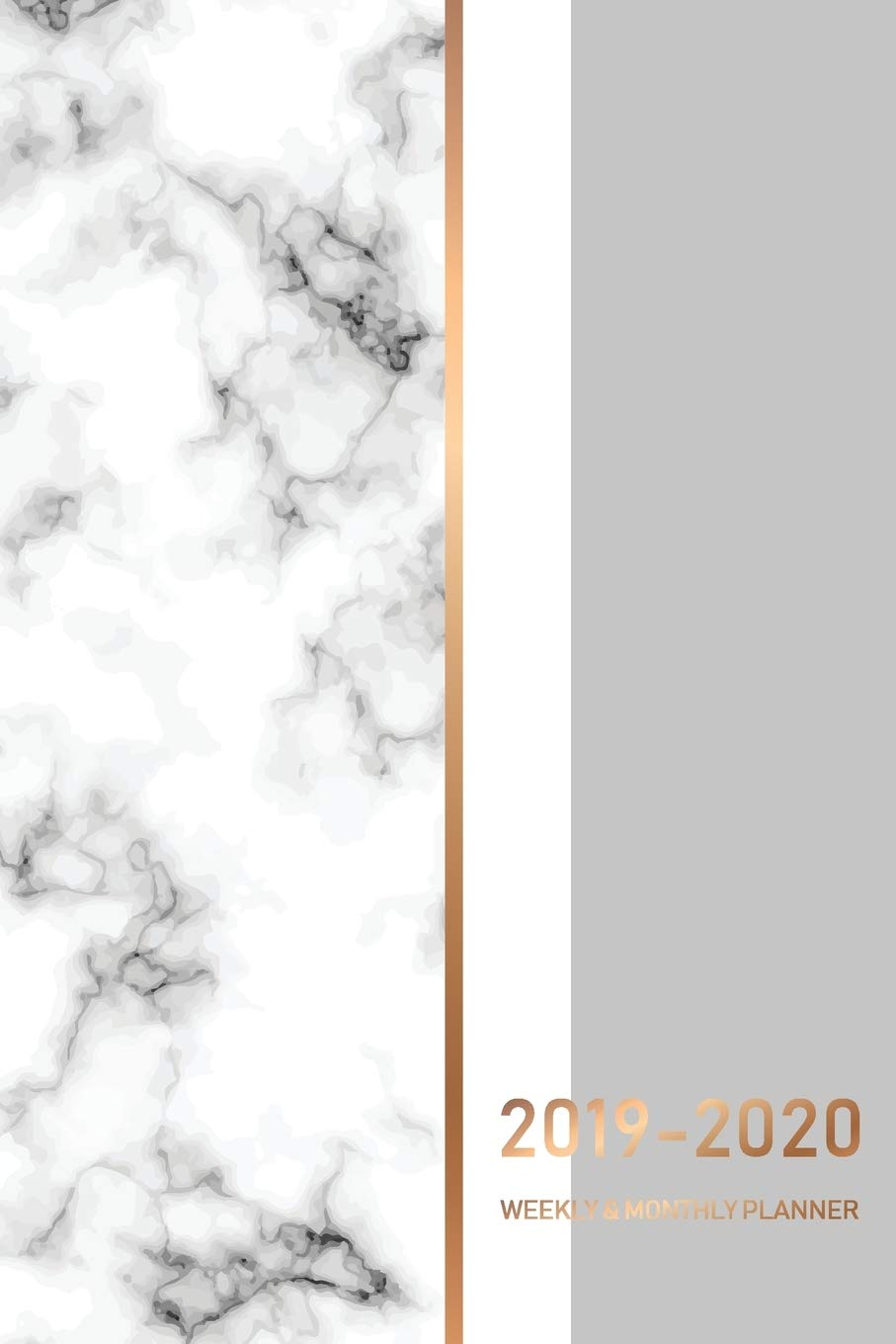 2019-2020 18 Month Weekly and Monthly Planner: Marble White ...