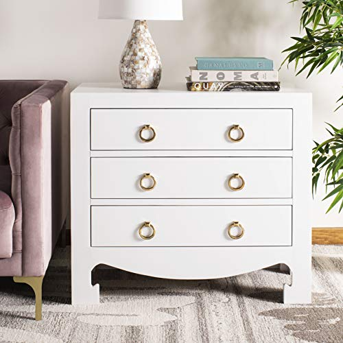 Safavieh CHS6411A Home Collection Dion White and Gold 3 Chest of Drawers