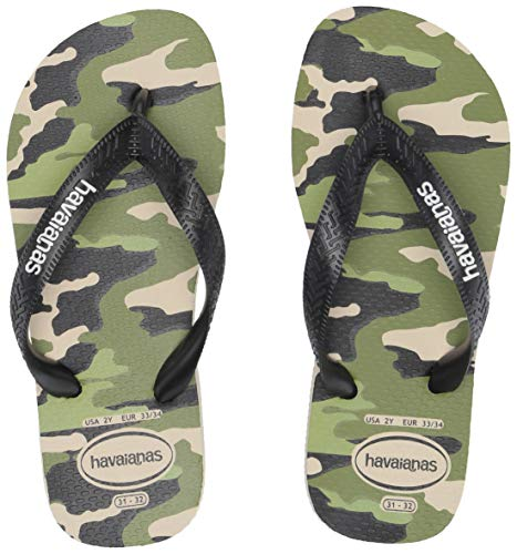 Havaianas Kid's Top Camo Sandal (Toddler/Little Kid),Beige/Black,27/28 BR (11-12 M US Little Kid)