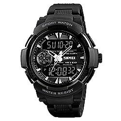 LJS-BQ Sports Watch, Men's Multi-Function Dual Time Zone Waterproof Electronic Watch,Black