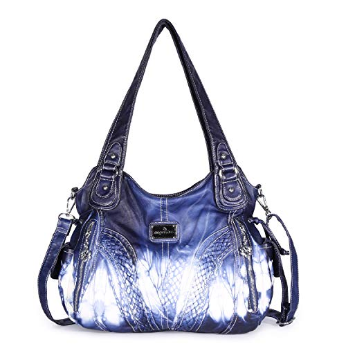 Angelkiss Women Top Handle Satchel Handbags Shoulder Bag Messenger Tote Washed Leather Purses Bag Z-Blue ()