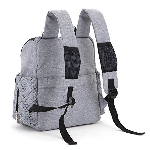 YuHan - Mochila con aislante para cochecito de bebé, tejido oxford, para llevar los pañales y cambiador negro negro gris