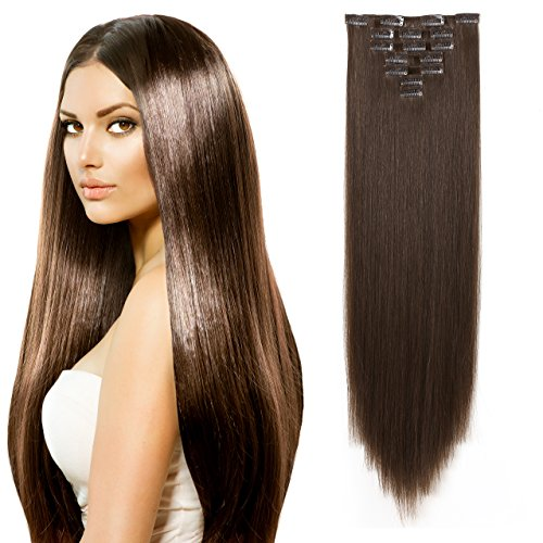 """OneDor 24"""" Straight Full Head Kanekalon Futura Heat Resistance Hair Extensions Clip on in Hairpieces 7pcs 140g (Straight 8#-Light Chestnut Brown) from OneDor"""